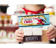 Super Hero Valentine's Day Printable S'mores Bag Toppers - Instant Download